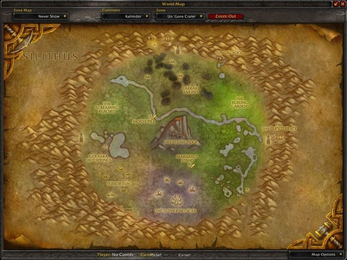 UnGoro Crater Zone in World of Warcraft, copyright Blizard Ent.